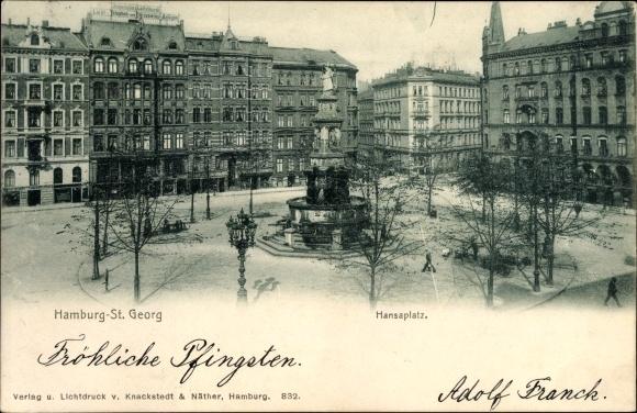 Ak Hamburg Mitte St. Georg, Hansaplatz mit Denkmal, Geschäftshaus Dieterichs & Löffelhardt