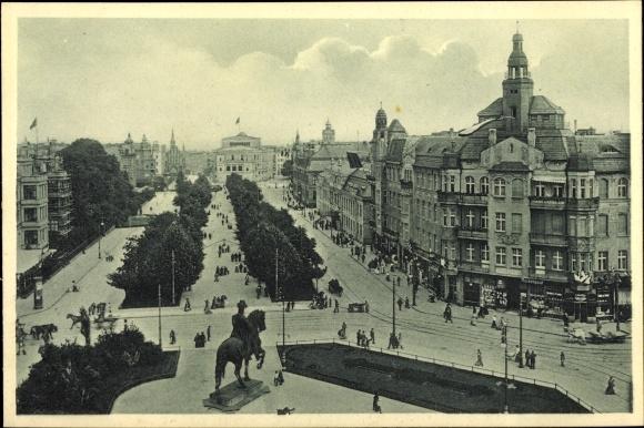 Ak Szczecin Stettin Pommern, Königsplatz mit Stadttheater