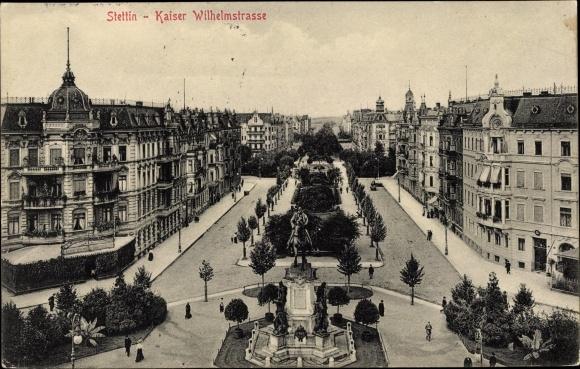 Ak Szczecin Stettin Pommern, Kaiser Wilhelm Straße, Reiterdenkmal