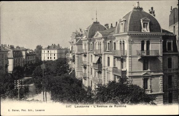 Ak Lausanne Kt. Waadt Schweiz, L'Avenue de Rumine