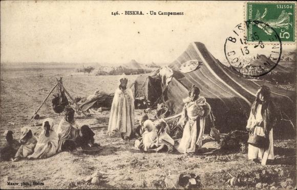 Ak Biskra Algerien, Un Campement, Anwohner vor ihrem Zelt