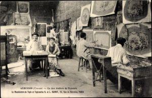 Ak Aubusson Creuse, Un des Ateliers de Peinture, Manufacture de Tapis, Taposseries