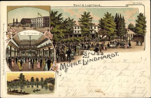 Litho Lindhardt Naunhof im Kreis Leipzig, Gast- und Logierhaus, Mühle Lindhardt, Bruno Bürger 3199