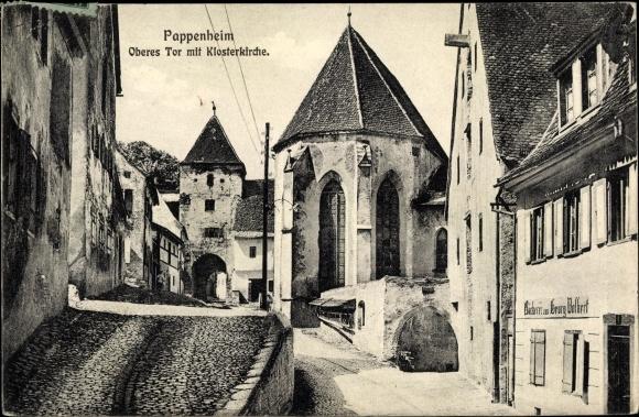 Ak Pappenheim Mittelfranken, Oberes Tor mit Klosterkirche, Bäckerei Georg Volkert