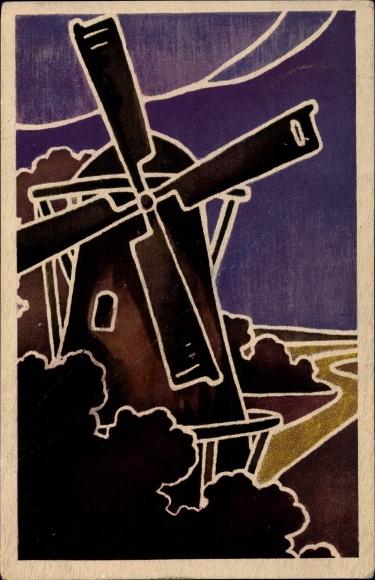 Künstler Ak Blick auf eine Windmühle, Mühlräder, Wolken
