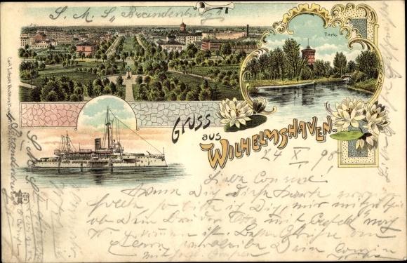 Litho Wilhelmshaven in Niedersachsen, Deutsches Kriegsschiff, Park, Panoramablick auf die Stadt