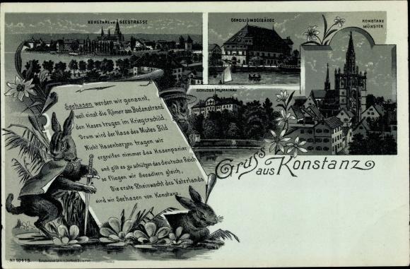 Mondschein Litho Konstanz am Bodensee, Seehasen, Schloss Mainau, Münster, Conciliumsgebäude