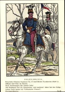 Künstler Ak Schäfer, Georg,Polen 1812-1814,Kavallerie,Ulanen Regiment Nr 17 Graf Michael Tyszkiewicz