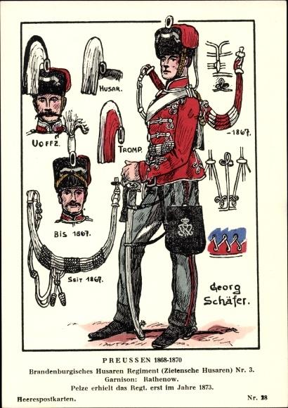 Künstler Ak Schäfer, Georg, Preußen 1868-1870, Brandenb. Husaren Regt Zietensche Husaren Nr 3