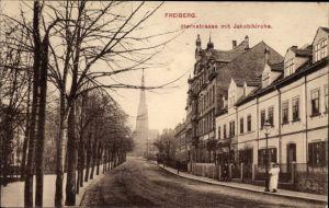 Ak Freiberg im Kreis Mittelsachsen, Hornstraße mit Jakobikirche, Häuser