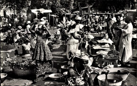 Ak L'Afrique Noire, Afrika, Afrikanischer Markt, Händler, Waren