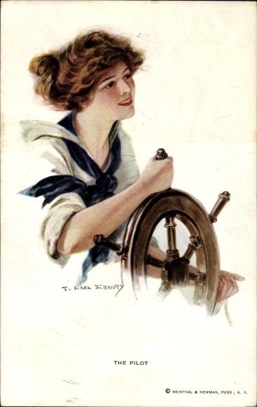 Künstler Ak Christy, F. Earl, The Pilot, Frau im Matrosenanzug am Steuerrad