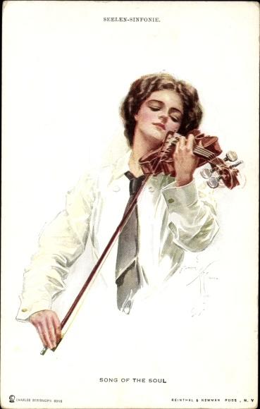 Künstler Ak Fisher, Harrison, Seelen Sinfonie, Song of the Soul, Frau spielt Geige