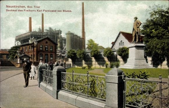 Ak Neunkirchen im Saarland, Blick auf das Denkmal des Freiherrn Karl Ferdinand von Stumm, Hochöfen