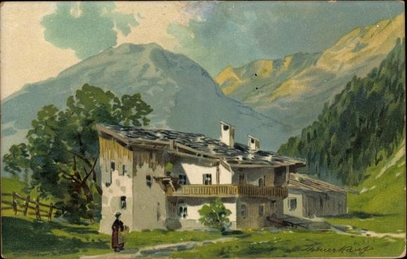 Künstler Litho Landschaftsansicht mit einem Bauernhaus im Gebirge