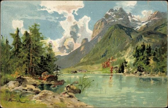 Künstler Litho Landschaftsansicht, Flusspartie mit Bergen im Hintergrund, Wolken