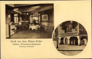 Ak Hamburg, Weinstube Restaurant Römer Keller, Hansaplatz, Innenansicht