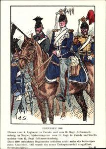Künstler Ak Schäfer, Georg, Preußen 1866, Ulanen vom 9. Regiment in Parade, Stabstrompeter