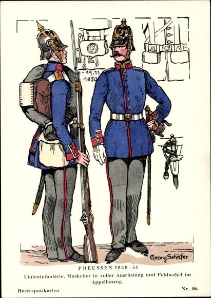 Künstler Ak Schäfer, Georg, Preußen 1850-51, Linieninfanterie, Musketier, Feldwebel
