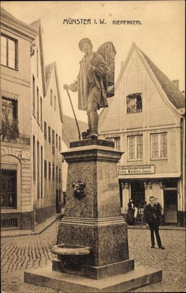Ak Münster in Westfalen, Kiepenkerl, Statue, Schweinemetzgerei Fritz Wielers Junior