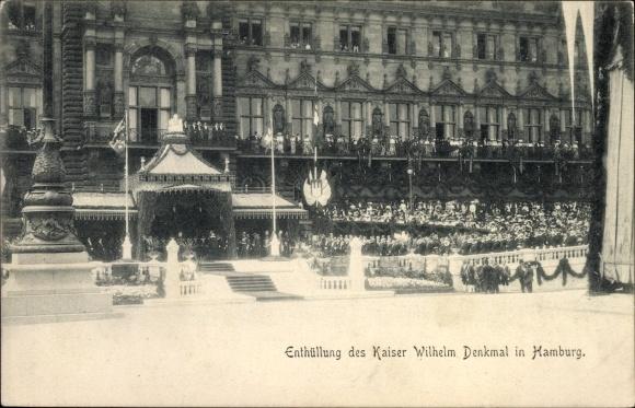 Ak Hamburg Mitte Altstadt, Enthüllung des Kaiser Wilhelm Denkmals, Tribüne, Zuschauer