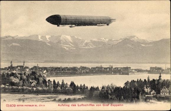 Ak Aufstieg des Luftschiffes von Graf Zeppelin