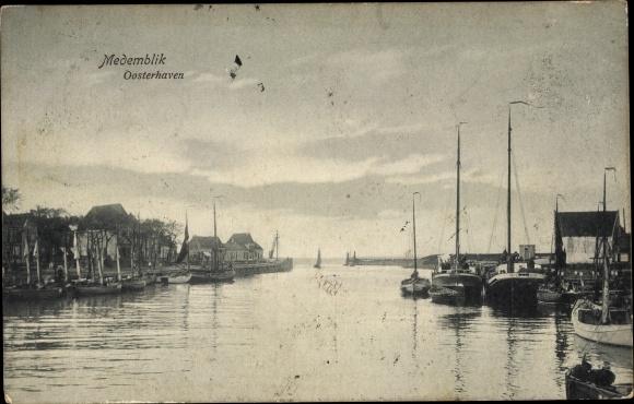 Ak Medemblik Nordholland Niederlande, Oosterhaven, Hafenpartie 0