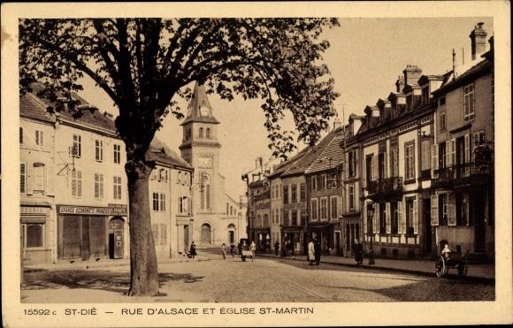 Ak Saint Dié des Vosges Lothringen Vosges, Rue d'Alsace et Église St. Martin 0