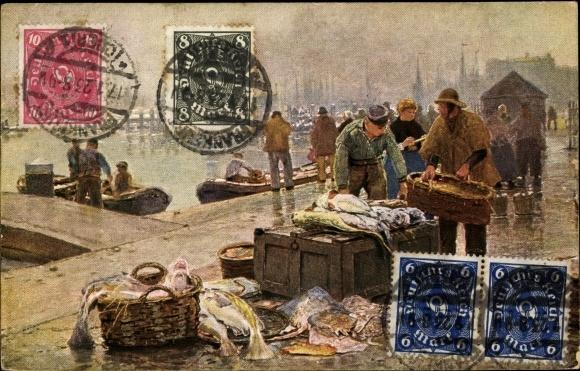 Künstler Ak Herrmann, Hans, Amsterdam Nordholland Niederlande, Fischmarkt 0