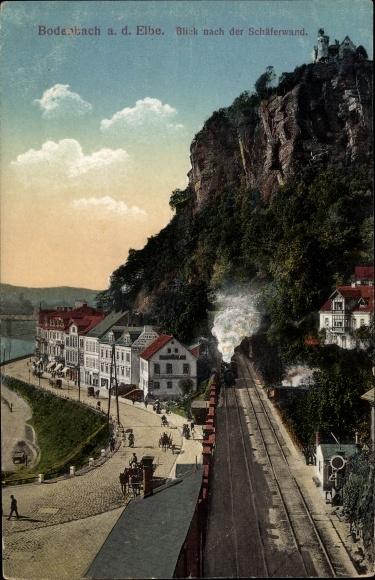 Ak Děčín Tetschen Bodenbach Elbe Reg. Aussig, Blick nach der Schäferwand, Bahnstrecke 0