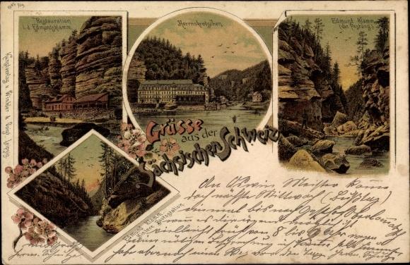 Litho Hřensko Herrnskretschen Elbe Reg. Aussig, Kamnitzklamm, Edmundsklamm, Restauration 0