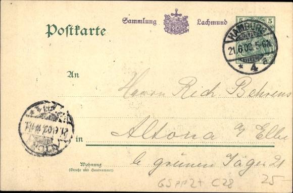 Präge Ganzsachen Ak Hamburg, Einweihung des Denkmals Kaiser Wilhelm des Großen 1903, Wilhelm II. 1