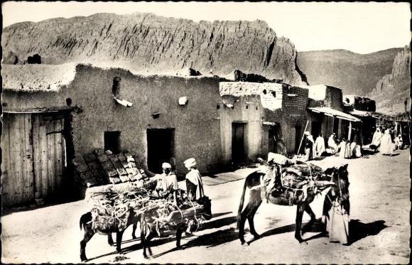 Ak El Kantara Algerien, Le Village Blanc, Dorfansicht, Anwohner, Packpferde