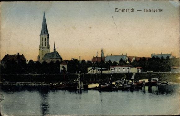 Ak Emmerich am Niederrhein, Hafenpartie, St. Aldegundis Kirche
