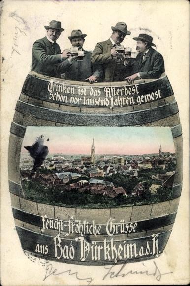 Passepartout Ak Bad Dürkheim am Pfälzerwald, Blick auf die Stadt, Weinfass, Trinkende Männer