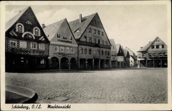 Ak Sulików Schönberg Oberlausitz Schlesien, Marktansicht, Buch- und Papierhandlung