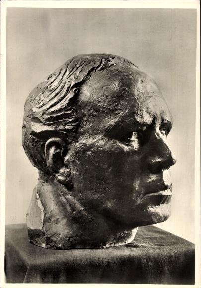 Ak Plastik Selbstbildnis von Georg Kolbe, 1934, Gesicht