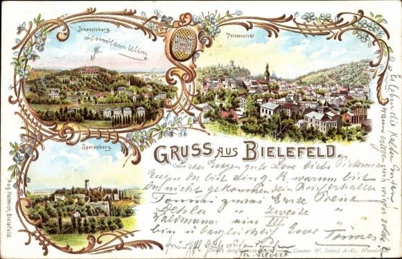 Litho Bielefeld in Nordrhein Westfalen, Johannisberg, Sparenberg, Totalansicht