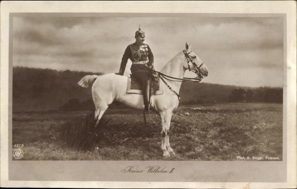Ak Kaiser Wilhelm II. von Preußen, Portrait in Uniform auf einem Pferd, NPG 4513