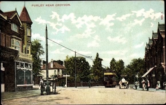 Ak Purley near Croydon London, Street View, Tram