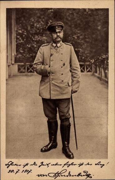 Ak Generalfeldmarschall Paul von Hindenburg, Uniform