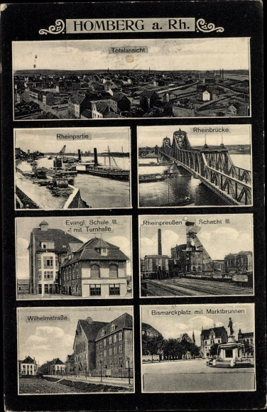 Ak Homberg Duisburg, Zeche Rheinpreußen Schacht III, Wilhelmstraße, Bismarckplatz, Schule, Turnhalle