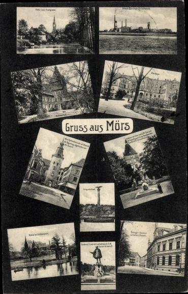 Ak Moers am Niederrhein, Schloss, Seminar, Zeche Rheinpreußen, Schacht IV, Urdinger Straße, Post