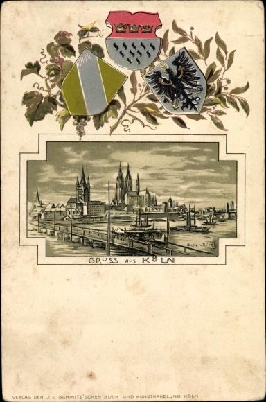 Präge Wappen Litho Köln am Rhein, Blick zum Dom, Groß St. Martin