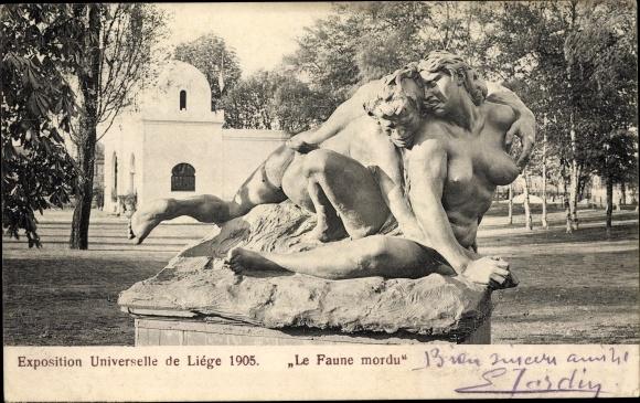 Ak Liège Lüttich Wallonien, Exposition Universelle 1905, Le Faune mordu, Weltausstellung