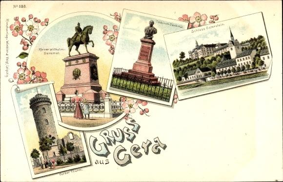 Litho Gera in Thüringen, Kaiser Wilhelm Denkmal, Ferberturm, Tschirch Denkmal, Schloss Osterstein
