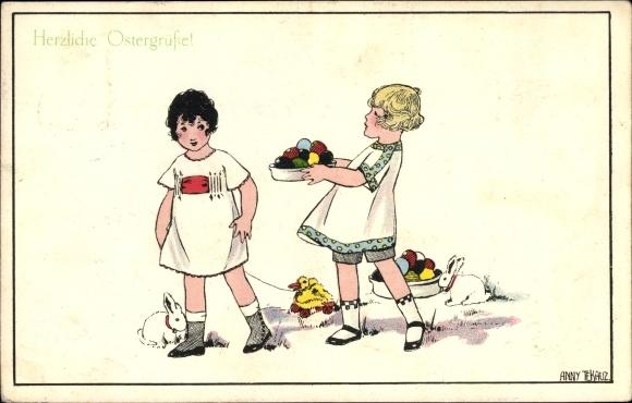 Künstler Ak Tekauz, Anny, Zwei Kinder mit bunten Ostereiern, Hasen