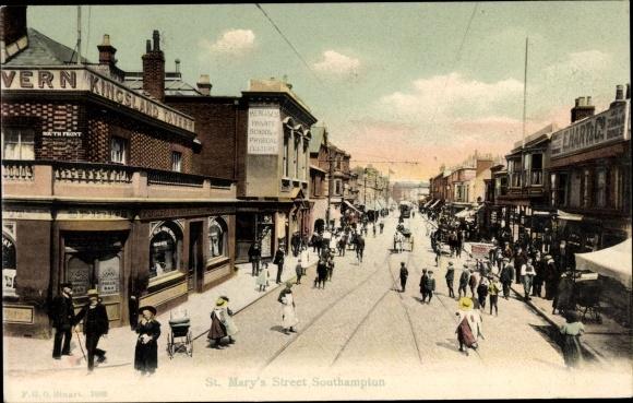 Ak Southampton Hampshire England, St. Mary's Street, South Front, Kingsland Tavern, E. Hart & Co.