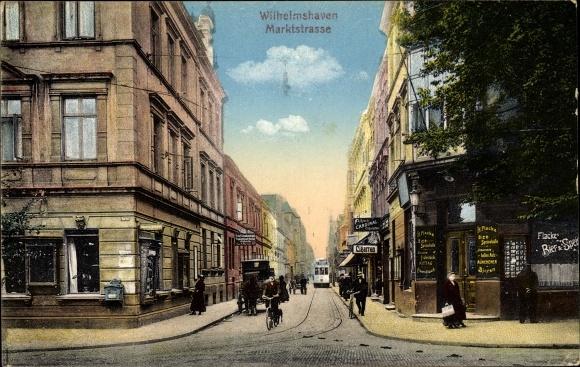 Ak Wilhelmshaven in Niedersachsen, Marktstraße, Bierhalle H. Flacke, Tabakladen, Straßenbahn