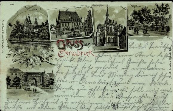 Mondschein Litho Osnabrück in Niedersachsen, Dom, Rathaus, Marienkirche, Heger Tor, Vili Schanze